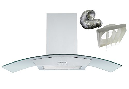 Cookology CGL900SS DK1M150 90cm Curved Glass Chimney Hood Stainless Steel & Ducting Kit from Cookology