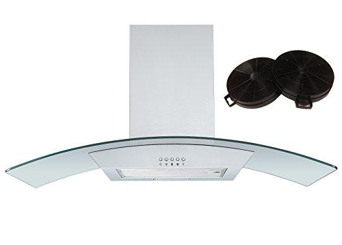 Cookology CGL900SS 90cm Curved Glass Chimney Hood Stainless Steel & Filters from Cookology