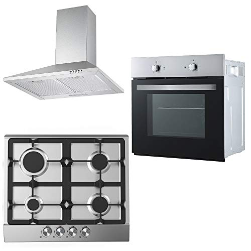 Cookology Fan Oven, Cast-Iron/Stainless Steel Gas Hob & 60cm Cooker Hood Pack from Cookology