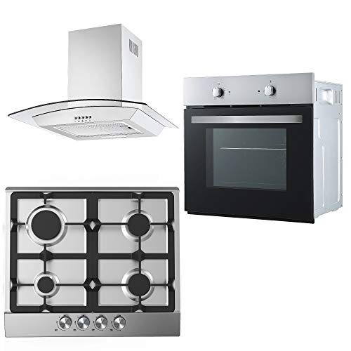 Cookology Fan Oven, Cast-Iron/Stainless Steel Gas Hob & Curved Glass Hood Pack from Cookology