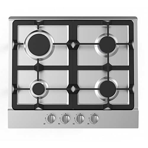 Cookology Gas Hob GH605SS | 60cm, Built-in, Stainless Steel & Cast Iron Pan Supports from Cookology