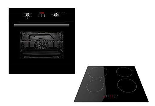 Cookology Fan Forced Built-in Oven with Digital Timer & Black 60cm 4 Zone Induction Hob Pack (Black) from Cookology