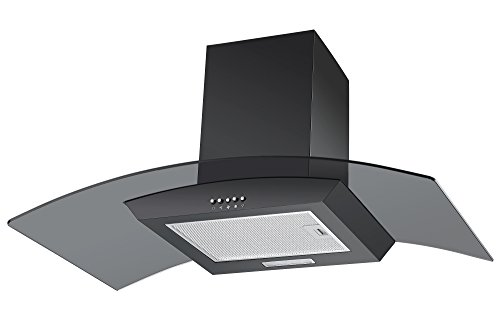 Cookology Unbranded Extractor Fan | CGL900BK 90cm Curved Glass Chimney Cooker Hood in Black from Cookology