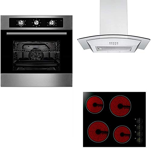 Unbranded Oven, Hob & Hood Package | Cookology 60cm Built-in Electric Fan Oven, Knob Control Ceramic Hob & Curved Glass Chimney Cooker Hood Pack in Stainless Steel from Cookology