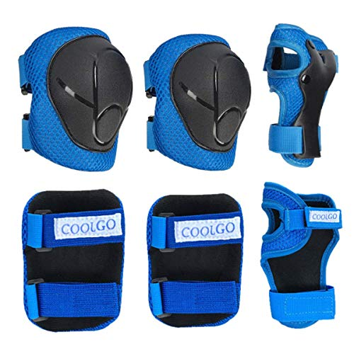 COOLGO Child Kids Protective Gear Set, Knee Pads Elbow Pads Wrist Guards 6 pcs for Multi Sports Skateboard Inline Roller Skates Cycling Biking BMX Bicycle (Blue) from COOLGO