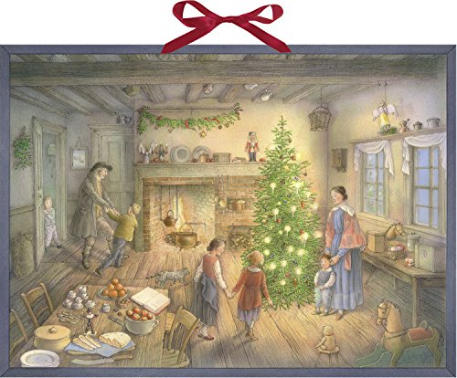 Coppenrath Christmas Eve Family Round The Tree Extra Large Traditional German Advent Calendar 52 cm Wide x 38 cm from Coppenrath