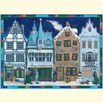 Coppenrath Christmas Street Blue very large flat Traditional German Advent Calendar 52cm wide x 38cm from Coppenrath