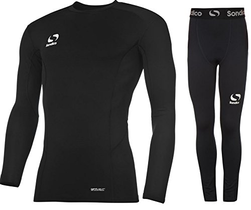 Sondico Boys Base Layer Tights & Top Set Junior Football Core Baselayer (Black L/S with Pants, 9-10 years) from Sondico