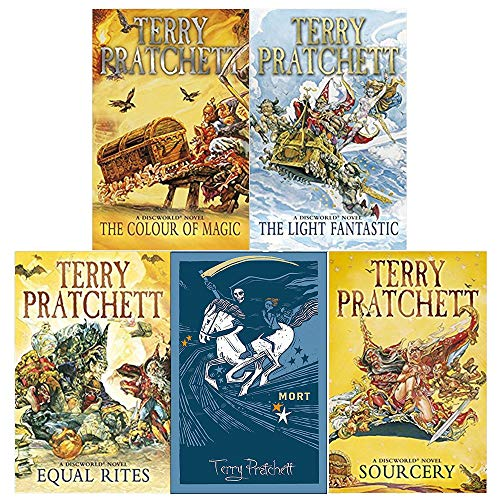 discworld novel series 1 :1 to 5 books collection set (the colour of magic, the light fantastic, equal rites, mort, sourcery) from Corgi