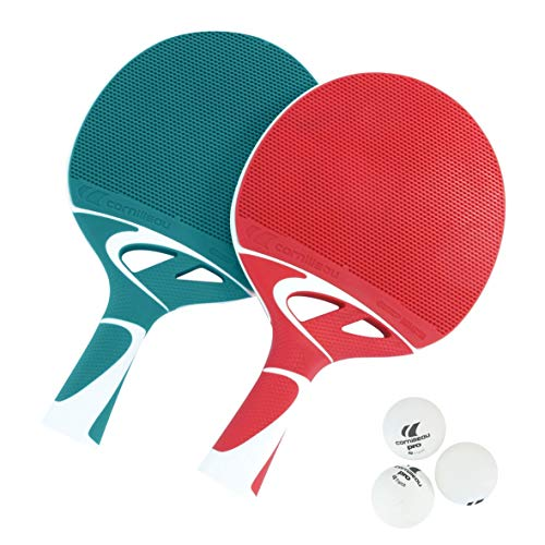 Cornilleau Tacteo Composite Duo Table Tennis Set (2 Bats and 3 Balls) - Turquoise/Red from Cornilleau