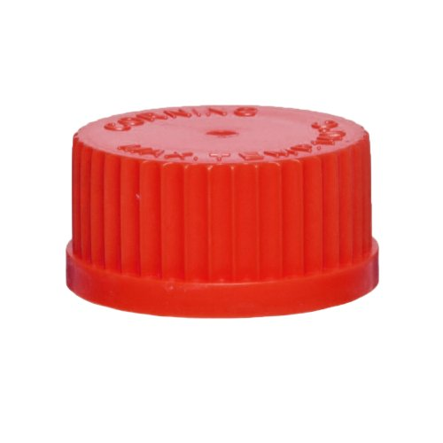 Corning 1395-45DC Red Polybutylene Terephtalate High Temperature 3-Hole GL45 Delivery Media Bottle Screw Caps from Corning