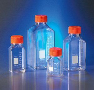 Corning 431530 Square PET Wide Mouth Bottle with 45 mm Cap, Orange Cap, Sterile, Individually Wrapped, 125 mL Capacity (Pack of 24) from Corning