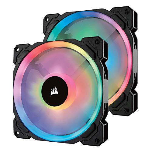 Corsair  CO-9050074-WW LL140 RGB Dual Light Loop RGB LED PWM Fan 2 Fan Pack with Lighting Node PRO, 140 mm from Corsair