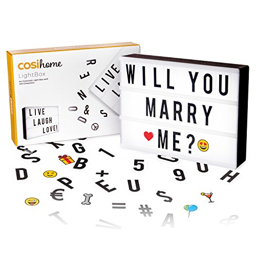 Cosi Home® A4 Cinematic Light Box with 100 Letters, Emoji, Smilies and Symbols - Personalise your own Message - Battery and USB Power from Cosi Home