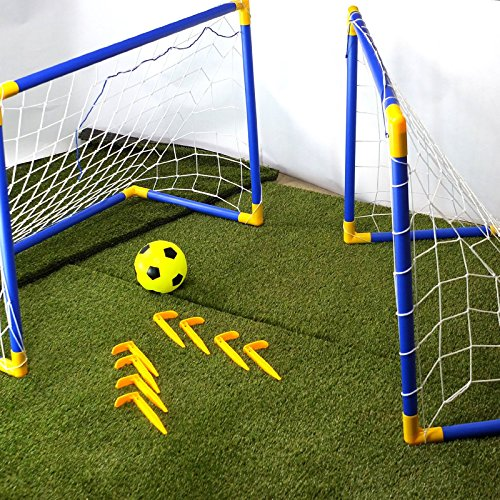 CostMad 2 x Football Soccer Goals Posts with Nets Pegs Ball & Pump Kids Childrens Junior Fun Small Mini Portable Indoor Outdoor Sport Training Practice Set from CostMad