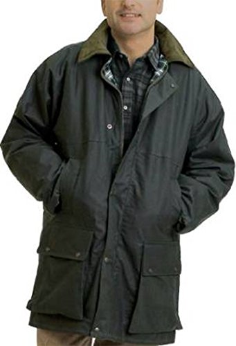 British Quilted Wax Rain Jacket (M, Olive) from Country Leisure Wear
