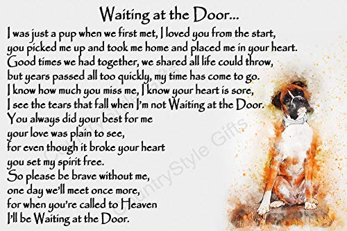 Boxer Dog Pet Bereavement Memorial Flexible Fridge Magnet - Waiting at The Door from CountryStyle Gifts
