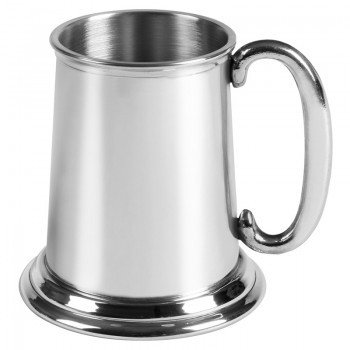 Personalised British Pewter Baby Christening Tankard with C Handle Engraved Gift In Plain Card Box from County Engraving