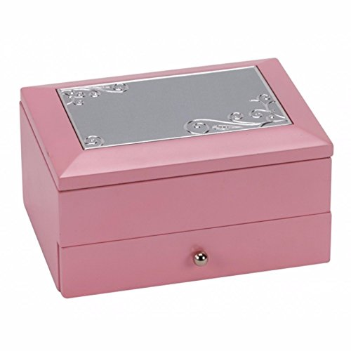 Personalised Pink Wooden Two Tier Jewellery Trinket Box, Any Message Engraved from County Engraving