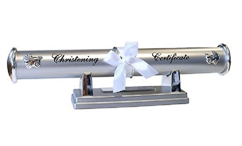 Personalised Silver Christening Certificate Holder on Stand (Engraved Free) Personalise The Certificate Holder With The Child's Name And The Christening Date. from County Engraving