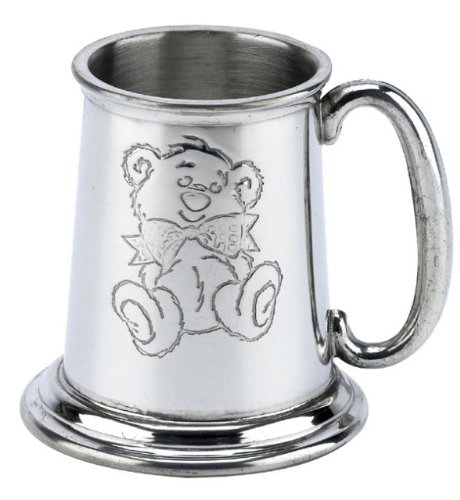 Personalised Teddy Bear British Pewter Tankard Baby Christening Engraved Gift in Plain Card Box - Enter Your Own Custom Text from County Engraving