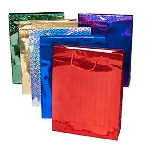 5x Gift Bag Large Holographic - Pack of 4 - Assorted Colours from County