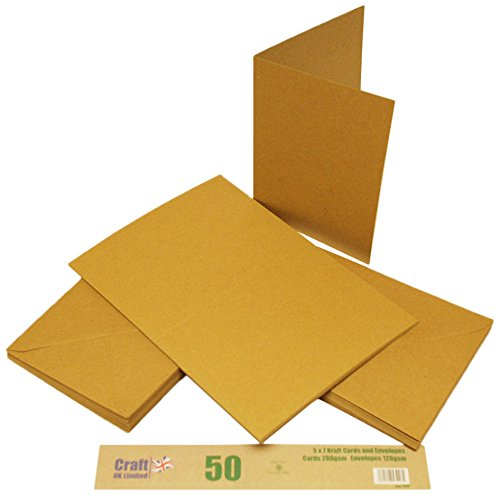 5 x 7 inch Kraft Cards and Envelopes - 50 pack from Craft