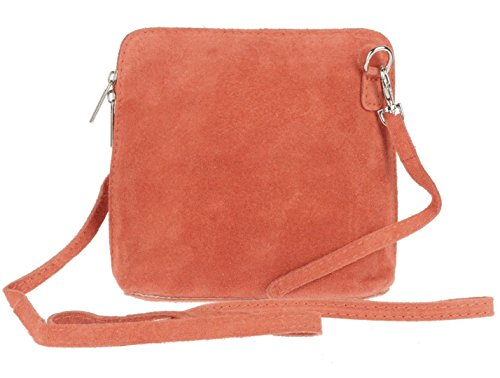 SALE SALE NEW Womens Small Genuine Suede Cross Body Shoulder Bag Strap Real Italian Designer (Coral) from Craze London