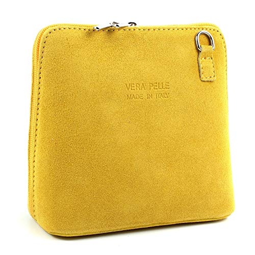SALE SALE NEW Womens Small Genuine Suede Cross Body Shoulder Bag Strap Real Italian Designer (Yellow) from Craze London