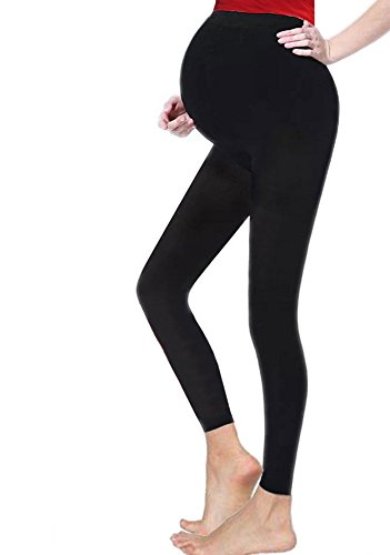 Crazy Chick Ladies Maternity Over Bump Stretchy Adjustable Full Ankle Length Leggings (14, Black) from Crazy Chick