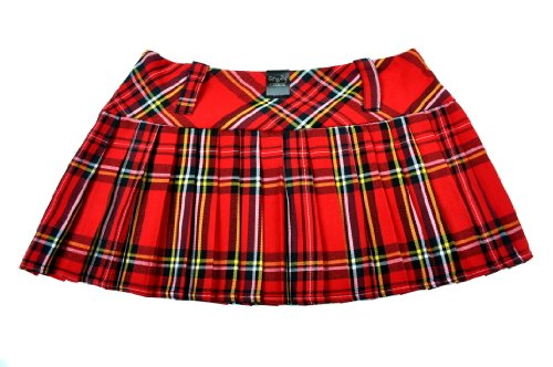 TARTAN MICRO MINI SKIRT 9IN LENGTH(23CM) (8, RED) from Crazy Chick