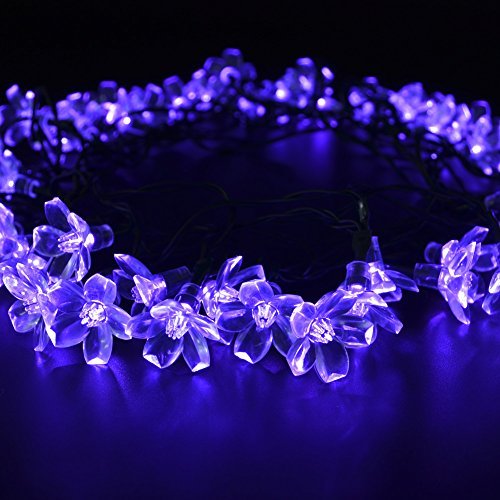 CrazyFire® 50 Purple Flower LEDS Outdoor Solar Motion Sensor Blossom Fairy LED String Light for Festival Celebration Christmas Party Patio Lawn Fence Decoration from CrazyFire