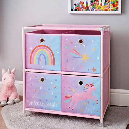 New Unicorn 4 Drawer Chest Drawer Girls Kids Children Bedroom Storage Unit Pink from Crazyshop