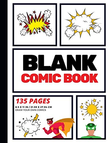 Blank Comic Book: Create Your Own Comic Strip, Blank Comic Panels, 135 Pages, Red (Large, 8.5 x 11 in.): Volume 1 (Action Comics) from CreateSpace Independent Publishing Platform