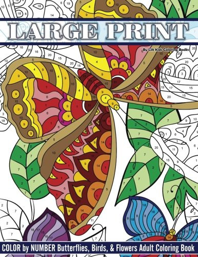 Large Print Color By Number Butterflies, Birds, and Flowers Adult Coloring Book: Volume 81 (Beautiful Adult Coloring Books) from CreateSpace Independent Publishing Platform