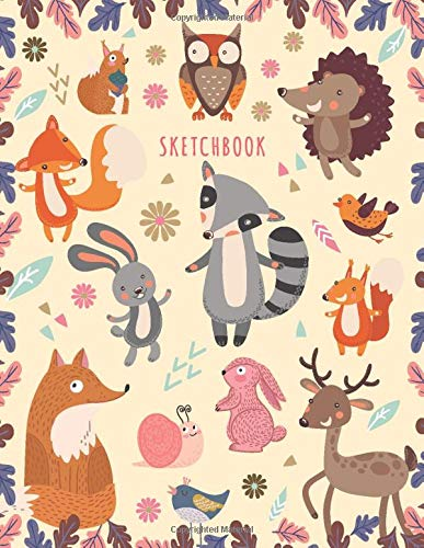 Sketchbook: Sketchbook for Girls: Cute Cartoon Forest Animals! (Owl, Fox, Birds, Rabbits, Deer) Sketching Journal / Blank Drawing - Extra Large 108+ Pages (Blank Sketch book For KIDs) from CreateSpace Independent Publishing Platform
