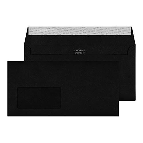 Blake Creative Colour DL+ 114 x 229 mm 120 gsm Peel & Seal Wallet Envelopes (214W) Jet Black - Pack of 500 from Blake