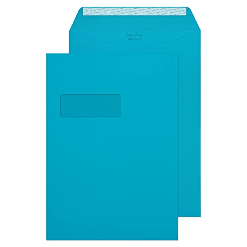 Blake Creative Colour C4 229 x 324 mm 120 gsm Window Peel & Seal Wallet Envelopes (409W) Cocktail Blue - Pack of 250 from Blake