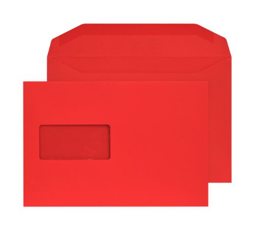 Blake Creative Colour C5+ 162 x 235 mm 120 gsm Mailer Gummed Window Envelopes (806MW) Pillar Box Red - Pack of 500 from Blake