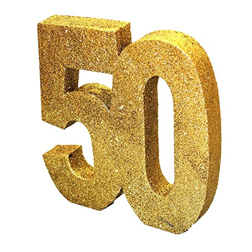 Gold Glitter Number Table Decoration '50' from Creative Converting