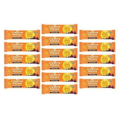Creative Nature Cacao Orange Vegan Flapjack Bar - High Protein - 16 x 40g Bars from Creative Nature