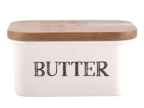 "Creative Tops ""Bake Stir It Up"" Stoneware Butter Dish with Acacia Wood Lid, White, Large from Creative Tops"