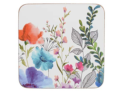 Creative Tops 'Meadow Floral' Printed Cork-Backed Drink Coasters, Square, Multi Colour, 10.5 cm, Set of 6 from Creative Tops