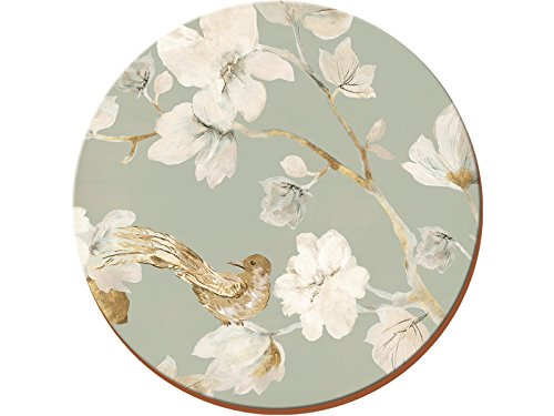 "Duck Egg Floral 4-Piece Set of Premium Cork-Backed Round Coasters by Creative Tops, 12 cm (4¾"") from Creative Tops"