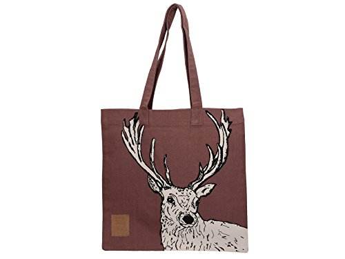 "Creative Tops ""Into the Wild"" Deer - Print 16 x 14"" 100% Cotton Decorated Canvas Tote Bag – Red/Purple from Creative Tops"
