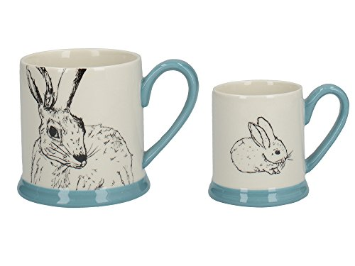 Creative Tops Into the Wild 'Little Explorers' Parent and Child Ceramic Printed Mugs - 'Hare and Bunny' (Set of 2) from Creative Tops