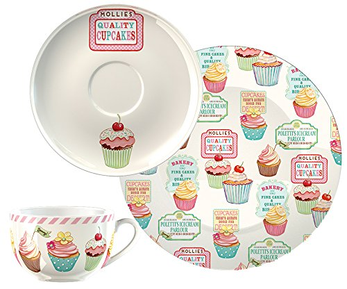 Creative Tops Retro Treats Cup Saucer and Side Plate Afternoon Tea Set, Multi-Colour from Creative Tops