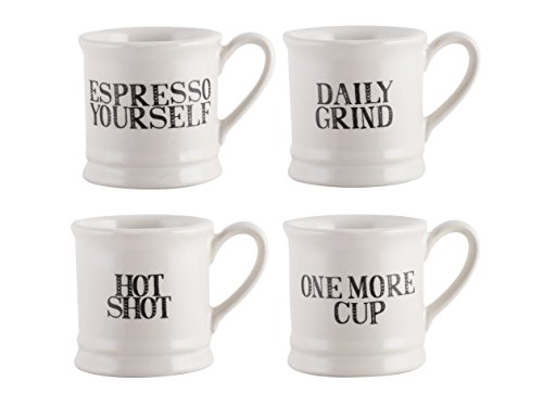 Creative Tops Creative Bake Stir It Up Espresso Mugs – Set of 4, Ceramic, Off White, 8.7x13x13 cm from Creative Tops