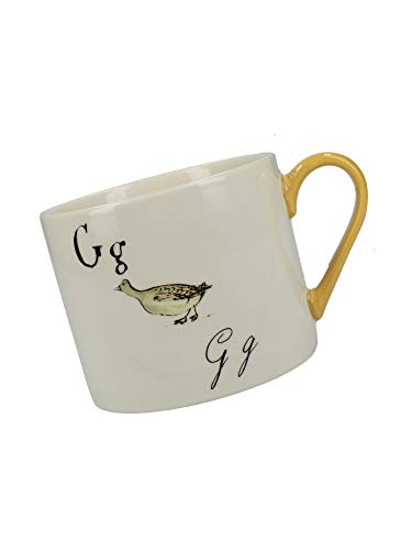 V&A Nonsense Alphabet Collectible Ceramic Mug with Printed 'G…' Poem, 430 ml (15 fl oz) - White / Amber from Creative Tops