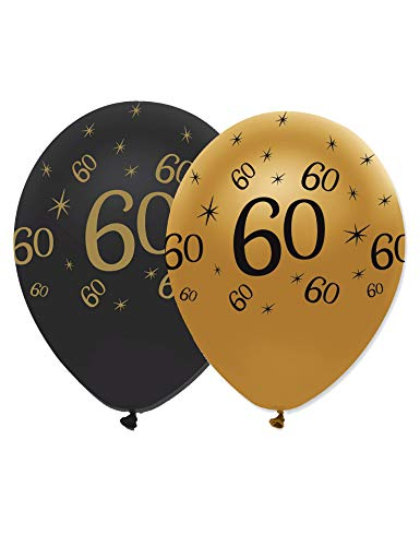 60th Black & Gold Balloons 6pk from Creative